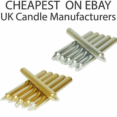 silver chrome CANDLES NON-DRIP CANDLE INDIVIDUALLY WRAPPED TAPERED DINNER gold
