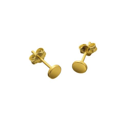 Gold Vermeil 4.5mm Flat Disc Scroll Back Earstuds 11mm 1 Pair R26//10