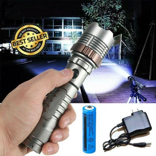 180000Lumen Military Rechargeable Flashlight Strong LED Outdoors Torch Batt+Char