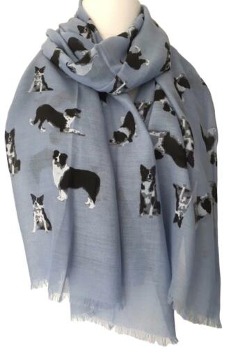 UK Border Collie Scarf Blue Border Collie Dog Wrap Black White Sheep Dogs Shawl