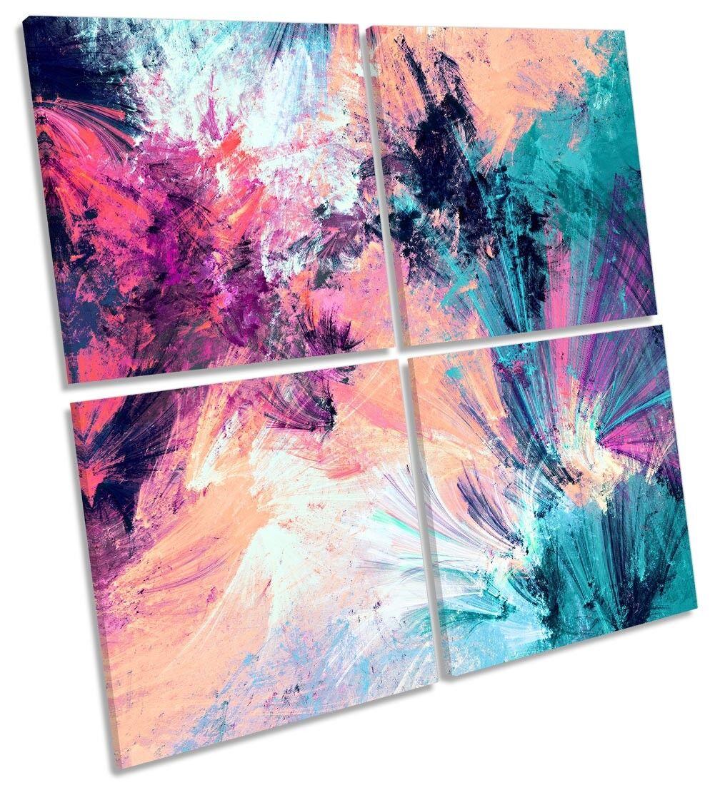 Rosa Azul Enmarcado Abstracto Arte Impresión de lona Grunge Enmarcado Azul Multi Cuadrado 666ed3