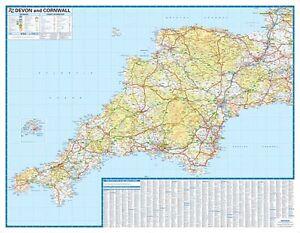 Devon Cornwall Road Map By AZ Maps Wall Map Paper - Az road map