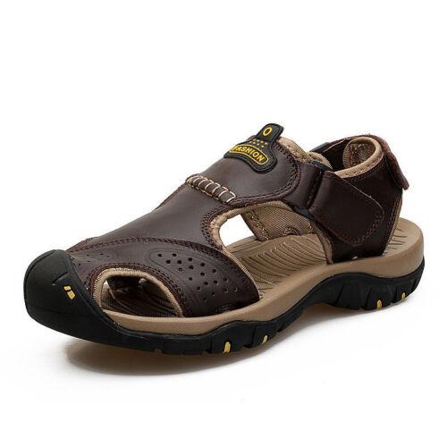 UK Mens Big Size Hiking Genuine Leather Sandals Closed Toe Fisherman Beach Shoe*