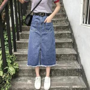 0ba8ec92a7 Fashion Women A-Line Blue Jeans Front Slit Frayed Hem Long Denim ...