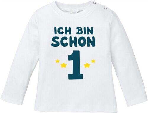 Baby Langarmshirt Babyshirt erster Geburtstag Ich bin schon 1 Jahr Eins