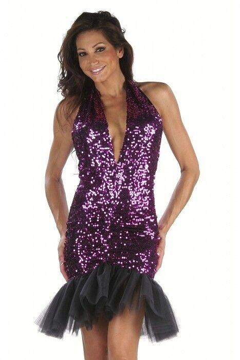 Pailletten Minikleid schwarz Gr.S 32-34 Club Dancewear Kleid Discokleid