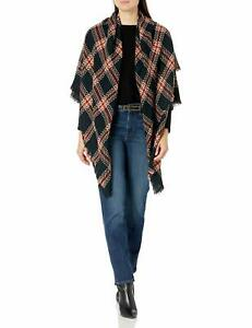 Collection XIIX Women's Oversized Wrap Black Multi One Size Woven Plaid 711