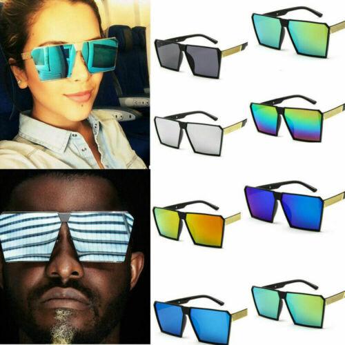 Women Men Vintage Retro Sunglasses Oversize Square Frame Flat Top Metal Glasses