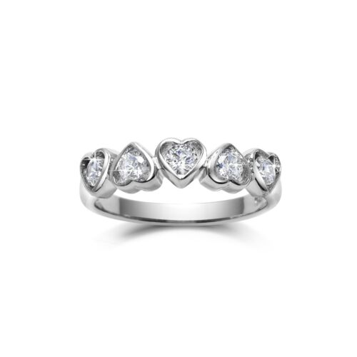 Sterling Silver 5 Promises Heart Ring. AUS Size T USA Size 10 FREE EXPRESS POST