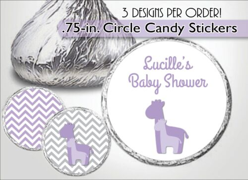 PURPLE GIRAFFE Hershey Kiss Label//Sticker-Girl Baby Shower 1st Birthday Favors