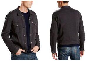 Levi-039-s-Men-039-s-French-Terry-Trucker-Jacket-Cotton-Blend-Dark-Grey-Phantom-Levis