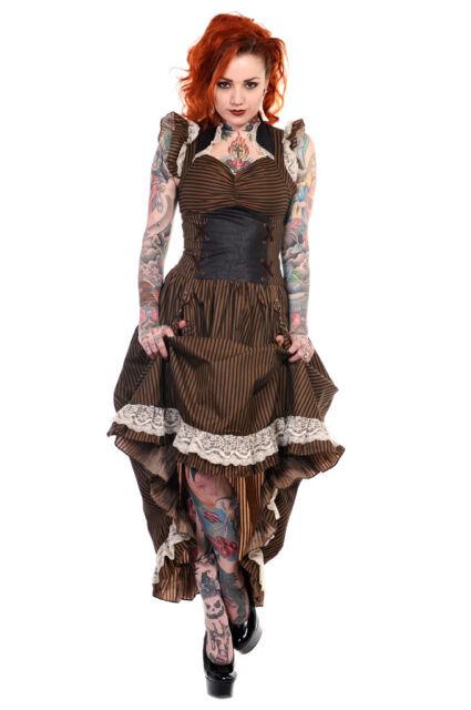 BANNED Kleid Steampunk Gothic Punk Dirndl Brown Stripes Lace Dress Spitze DBN505