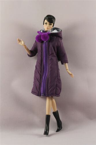 Fashion Purple Winter fur Coats Clothes//Outfit Down Jacket For 11.5in.Doll