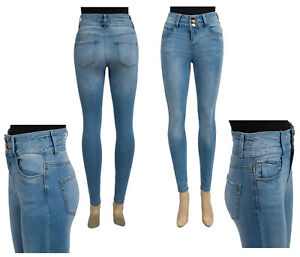 Femme-Taille-Haute-Skinny-Stretch-Denim-Jeggings-Ex-UK-Chainstore