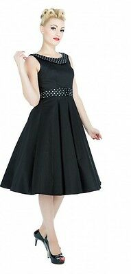 H & R Black Dress 50's Housewife pinup retro vintage Swing hot rod 9426