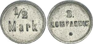 Deutsch-Südwestafrika circa 1910 Kolonien: 1/2 Mark Militärgeld 3.Kompanie 63905