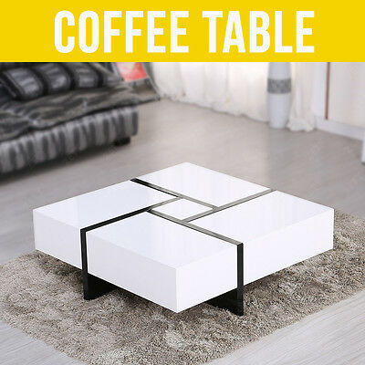 High Gloss White Coffee Table Storage w/ 4 Hidden Drawers Livingroom Furniture