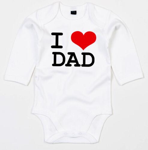 I LOVE DAD Black print Langarm Body BIO-Baumwolle white