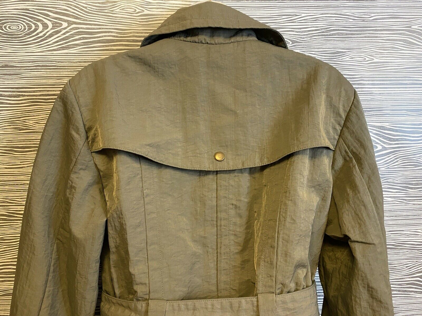 J Jill Olive Green SILKY BELTED Military TRENCH C… - image 12