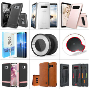 Wireless Charger+Phone Case+2pc Full Screen Protector for Galaxy Note 8/S8 Plus