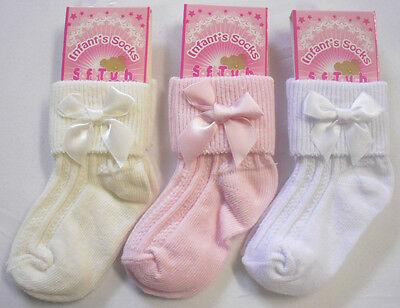 Bebé Bebés Niño Niñas Bonita Arco Calcetines Escuela Boda Crema Blanca Rosa