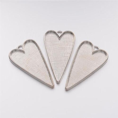 50 piezas de aleación de plomo libre estilo tibetano Corazón Grande Colgante Cabochon Bisel configuración