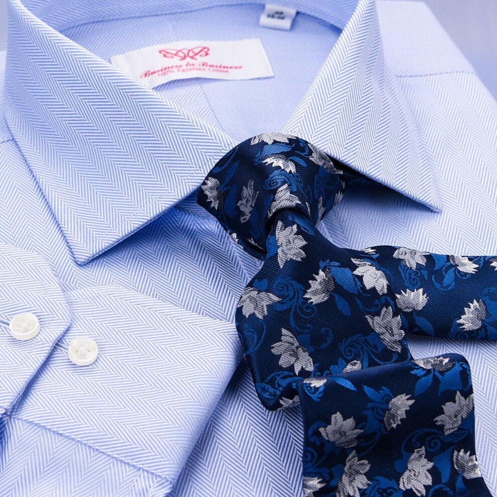 bluee Herringbone Standard Cuff Formal Business Dress Shirt  Exclusive Fashion A+