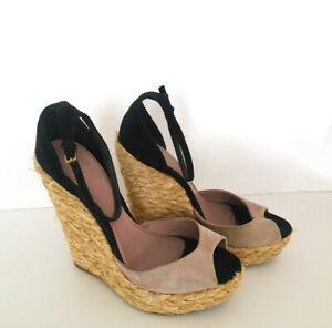 7c3fa6c70bc86 Gucci Suede Black Pink Shoes Ankle Strap Wedges Woven Jute Platform ...