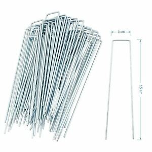 50-Pack-Galvanised-U-Pins-Ground-Garden-Membrane-Fabric-Hooks-Pegs-Staples