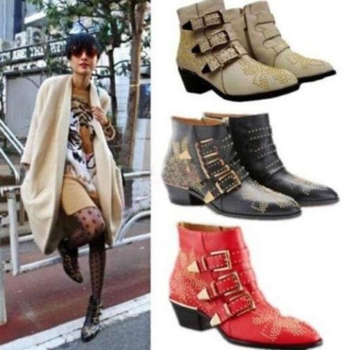 Punk Buckle Real Leather Ankle Boots Low Heel Studded Motor Women Chelsea Shoes
