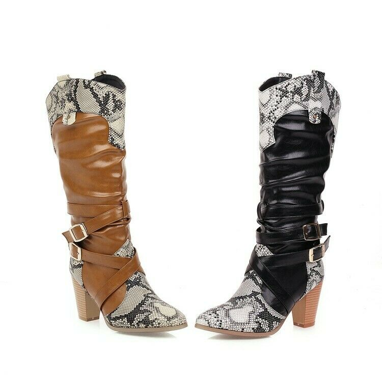 Women Snakeskin Pattern Cowboy Boots High Heel Booties Pointed Toe Fashion Shoes