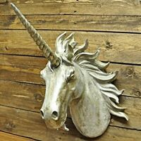 Large Unicorn Head Gold Bronze Sparkle Cold Cast Wall Mounted Sculpture Display