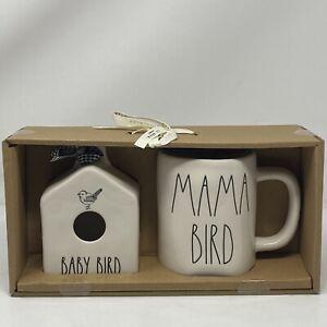 """Rae Dunn CERAMIC Mini """" BABY BIRD """" Birdhouse & """" MAMA BIRD """" MUG SET NEW NIB"""