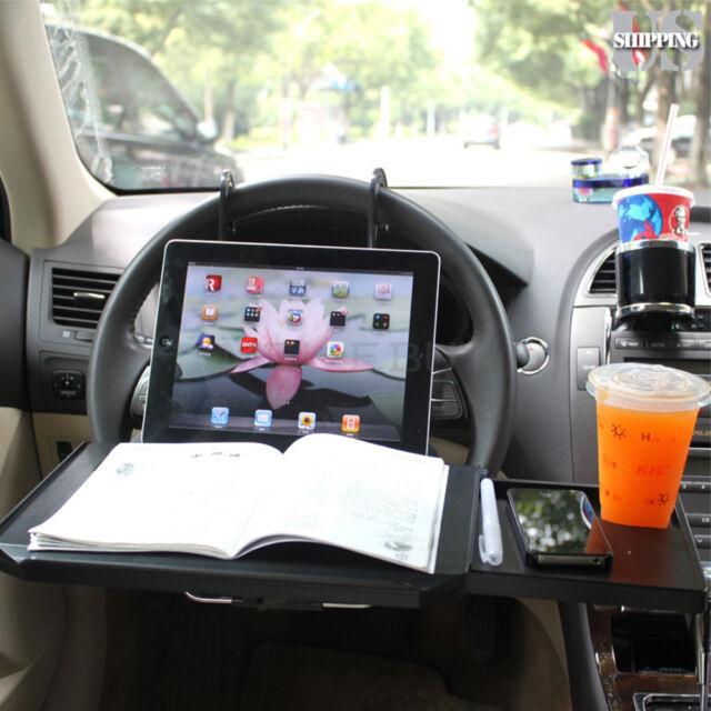 Folding Car Desk Laptop Steering Wheel Seat Food Book Tray Stand Holder Drawer