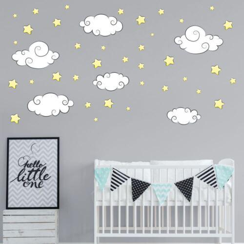 nikima 112 Wandtattoo Sterne /& Wolken Aufkleber Sticker