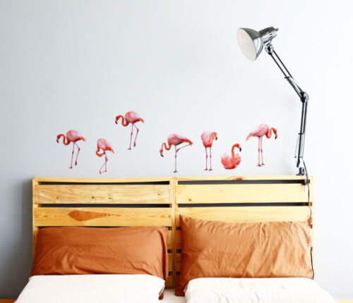 Set of 7 Flamingo Wall Sticker Bedroom Hipster Cool Kids MS388PC