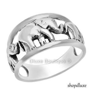 Women-039-s-925-Sterling-Silver-Elephant-Caravan-Fashion-Ring-Band-Size-5-10