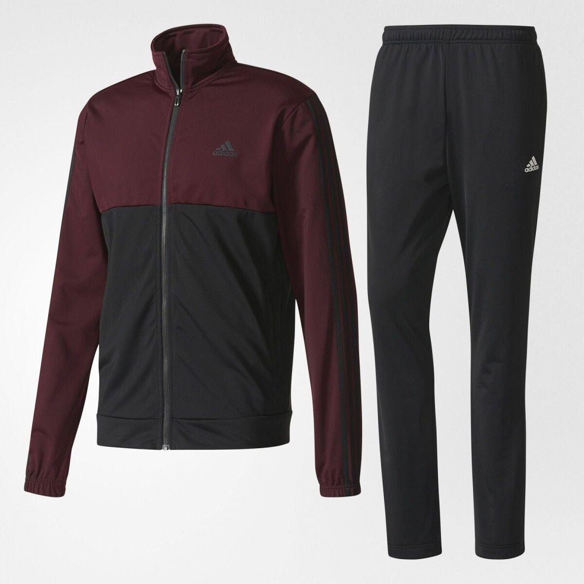 Neu Neu Neu Adidas Herren BQ8357 3 Streifen Trainingsanzug Schwarz Maroon Jacke & Hose 0308cd
