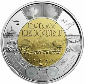 2019-Canada-Dday-75th-anniversary-1944-2019-2-NON-COLOURED-Toonie-THREE-COINS