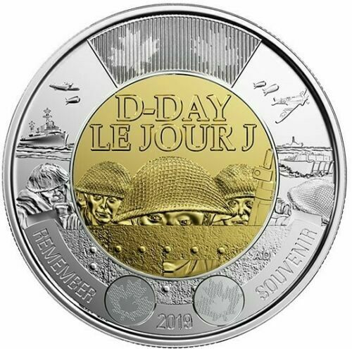 2019 Canada Dday 75th anniversary 1944-2019 $2 NON-COLOURED Toonie from roll