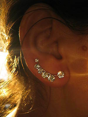 Ear Sweep Pin  - Cuff Ear Crawler Earring with Swarovsky - Gold filled