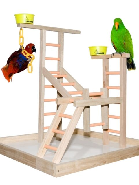 Parrot Perch Pet Bird Perch Play Gym Stand Table Top Playland Perch