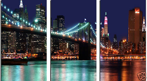 TRIPTYCH CITY SCENE SPLIT CANVAS ART NEW YORK 3 PANEL