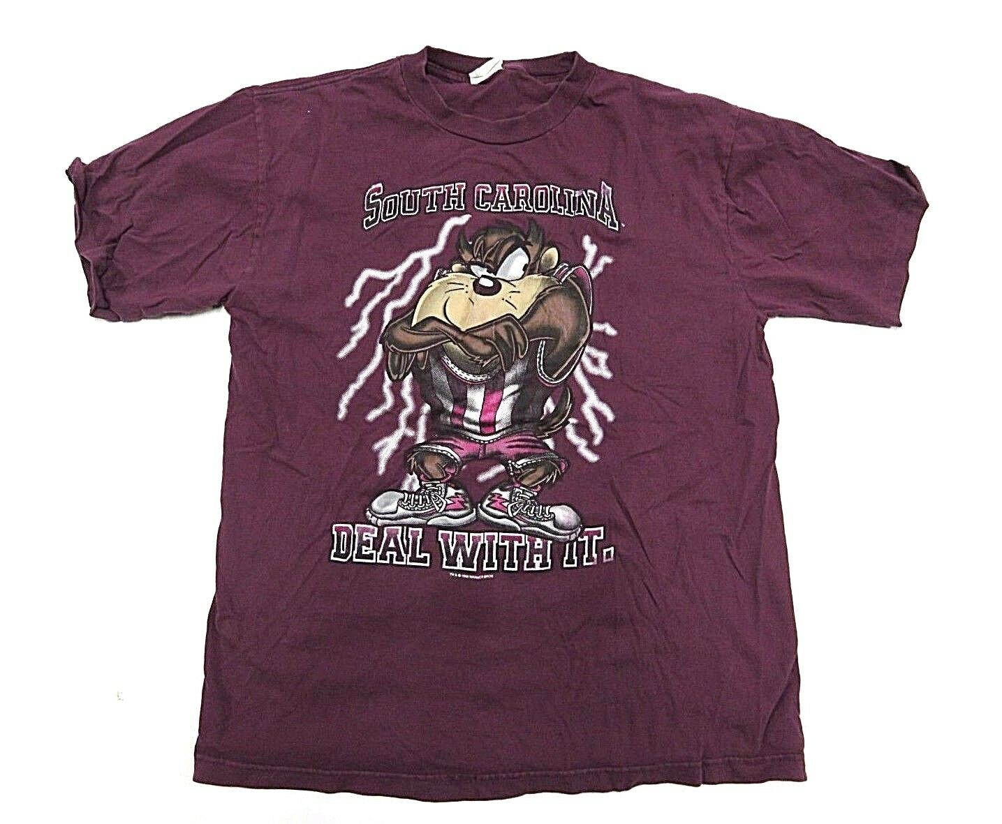 1995 TnT South Carolina Maroon Tasmanian Devil Looney Tunes Graphic Men's Shirt