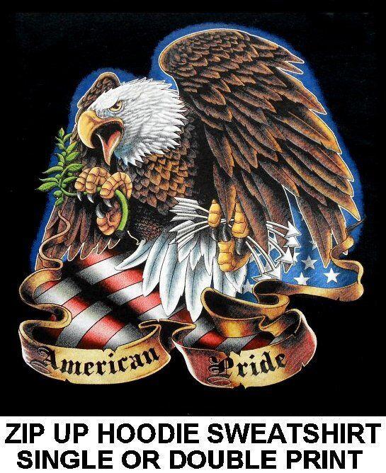 AMERICAN PRIDE GORGEOUS PEACE & WAR EAGLE FLAG ARROW ZIP HOODIE SWEATSHIRT WS610
