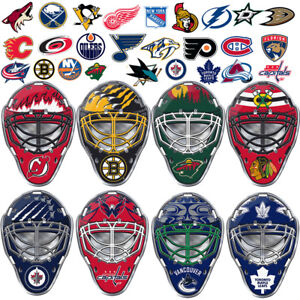 NHL-Teams-Goalie-Mask-Premium-Aluminum-Emblem-Sticker-Hockey-Car-Truck-SUV-Van