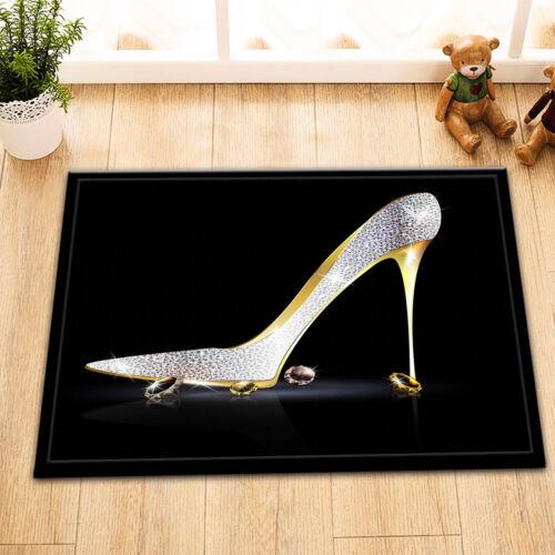 """Silver Gold Shoe Crystal 15X23/"""" Kitchen Bathroom Door Mats Floor Non-Slip Rug"""