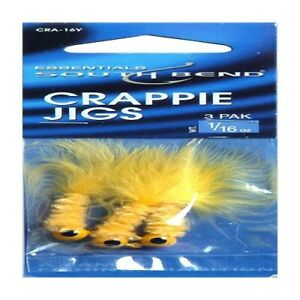 SouthBend 50010 Handcrafted Crappie CRA-16Y Fishing Jigs Yello 1/16 Oz/Pack of