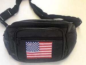 90s-Vintage-Merica-Fanny-Pack-American-Flag-Black-Real-Soft-Leather-Hip-Belt-Bag