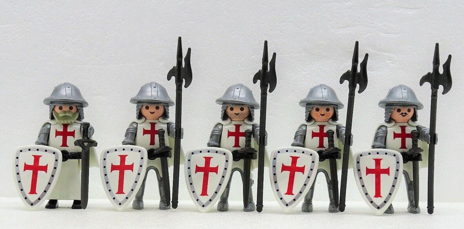 5 Cavaliere Crociato Templari Playmobil per Wachen Capitano Crusader Raro   prima qualità ai consumatori
